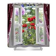 Open Window View Onto Wild Flower Garden Shower Curtain