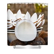 Opened Coconuts On The Market Shower Curtain