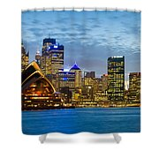 Opera House And Buildings Lit Shower Curtain
