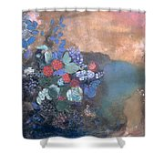 Ophelia Among The Flowers Shower Curtain by Odilon Redon