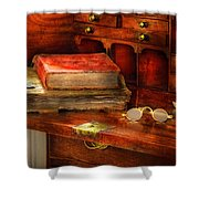 Optometrist - Glasses - The Secretary Shower Curtain by Mike Savad
