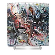 Orang Elblue Black Grey Abstract Landscape Art Shower Curtain
