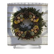 Orange And Artichoke Wreath Shower Curtain