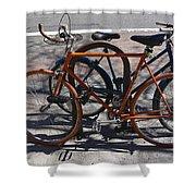 Orange And Blue Bikes Shower Curtain