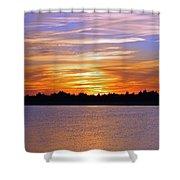 Orange And Blue Sunset Shower Curtain