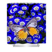 Orange And Gray Butterfly Shower Curtain
