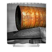 Orange Appeal - Rusty Old Can Shower Curtain by Gary Heller