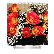 Orange Apricot Roses With Oil Painting Effect Shower Curtain