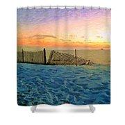 Orange Beach Sunset - The Waning Of The Day Shower Curtain