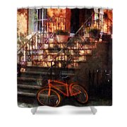 Orange Bicycle By Brownstone Shower Curtain