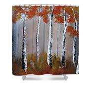 Orange Birch One Piece Shower Curtain