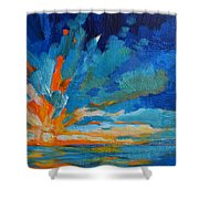 Orange Blue Sunset Landscape Shower Curtain