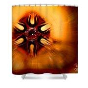 Orange Burst Abstract Shower Curtain