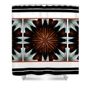 Orange Chocolate Trio - Kaleidoscope - Triptych Shower Curtain