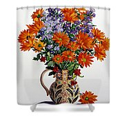 Orange Chrysanthemums Shower Curtain