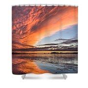 Orange Clouds Over Humboldt Bay Shower Curtain