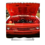 Orange Color Chevrolet Car Shower Curtain