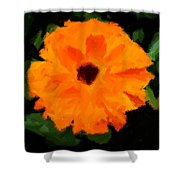 Orange Country Flowers - Impressionist Series Shower Curtain