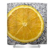 Orange Cut In Half Grey Background Shower Curtain