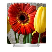 Orange Daisy With Tulips Shower Curtain