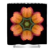 Orange Daylily Flower Mandala Shower Curtain by David J Bookbinder