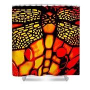 Orange Dragonfly Shower Curtain