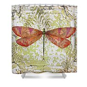 Orange Dragonfly On Vintage Tin Shower Curtain