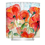 Orange Field Of Poppies Watercolor Shower Curtain