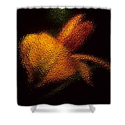 Orange Floral In Abstract Shower Curtain