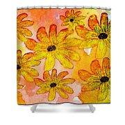 Orange Flowers Galore Digital Art Shower Curtain