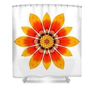 Orange Gazania I Flower Mandala White Shower Curtain