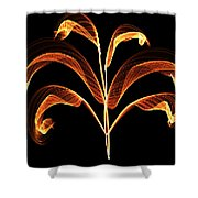 Orange Glowing Plant Shower Curtain