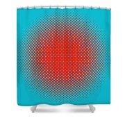 Optical Illusion - Orange On Aqua Shower Curtain