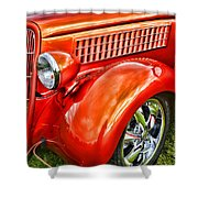 Orange Hood And Fender-hdr Shower Curtain