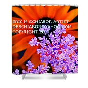 Orange Lavender Flower Shower Curtain