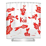 Orange Lazy Koi Shower Curtain by Lynn-Marie Gildersleeve