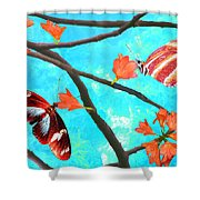 Orange Leaves Shower Curtain