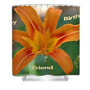 Orange Lily Birthday Shower Curtain