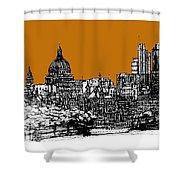 Dark Ink With Bright Orange London Skies Shower Curtain
