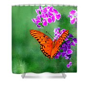 Orange Monarch Butterfly Shower Curtain