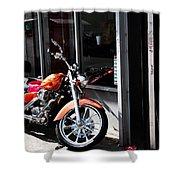Orange Motorcycle Shower Curtain