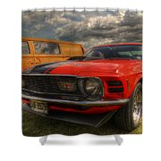 Orange Mustang Shower Curtain