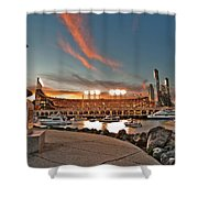 Orange October 2012 Celebrates The San Francisco Giants Shower Curtain by Jorge Guerzon