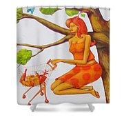 Orange Olga Shower Curtain