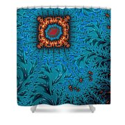 Orange On Blue Abstract Shower Curtain