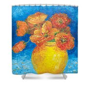 Orange Poppies In Yellow Vase Shower Curtain
