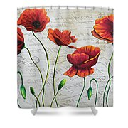 Orange Poppies Original Abstract Flower Painting By Megan Duncanson Shower Curtain