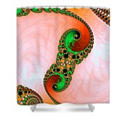 Orange Red And Green Abstract Fractal Art Shower Curtain