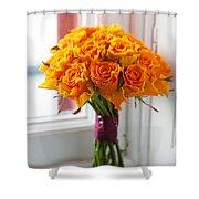 Orange Rose Wedding Bouquet Shower Curtain