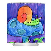 Orange Snail Shower Curtain
